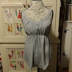 Imaginary Voyage gray top with silver beading